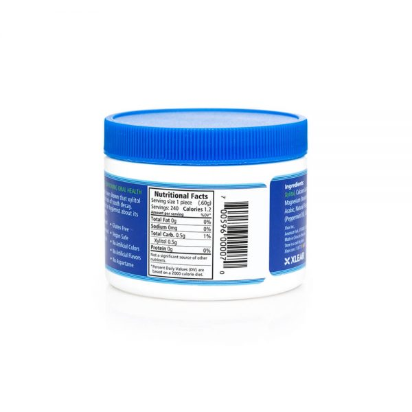 Spry Peppermint Mints 240 count nutrition lable