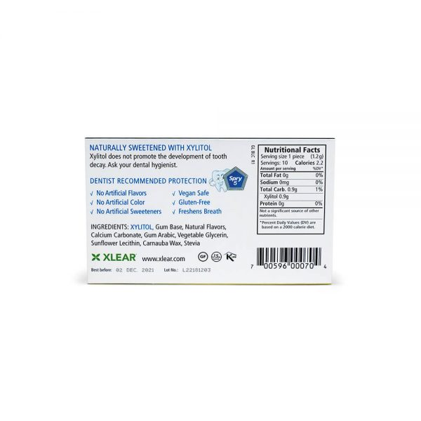Spry Licorice Gum Blister Pack nutrition label ingredients