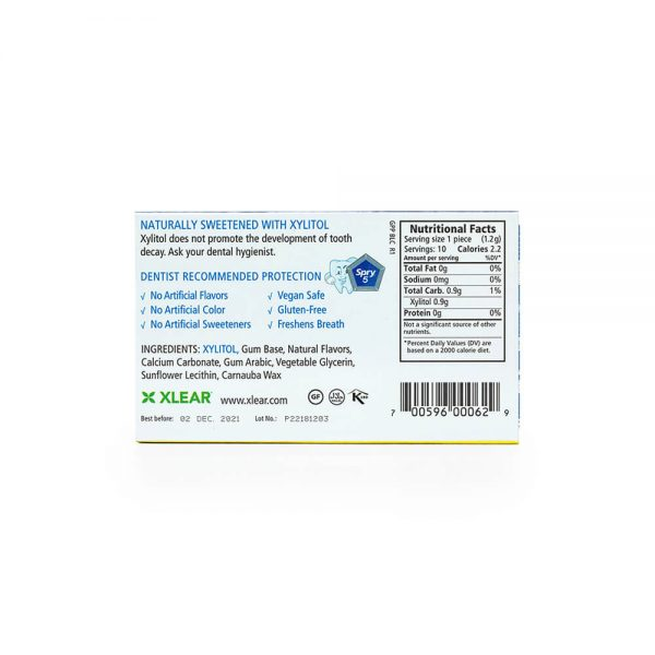 Spry Peppermint Gum Blister Pack nutrition label ingredients