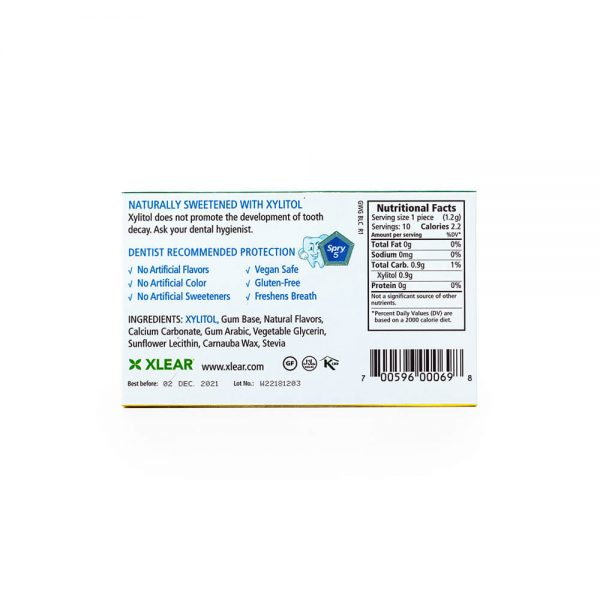 Spry Wintergreen Gum Blister Pack nutrition label ingredients