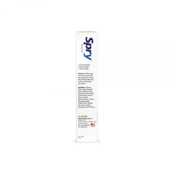 Kid's Spry Tropical Fruit Tooth Gel fluoride-free ingredients directions