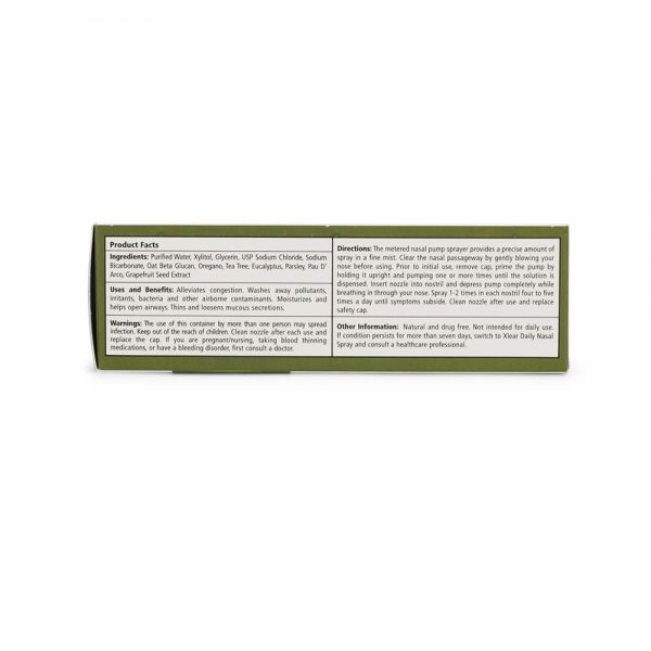 Xlear Rescue Nasal Spray ingredients and facts panel
